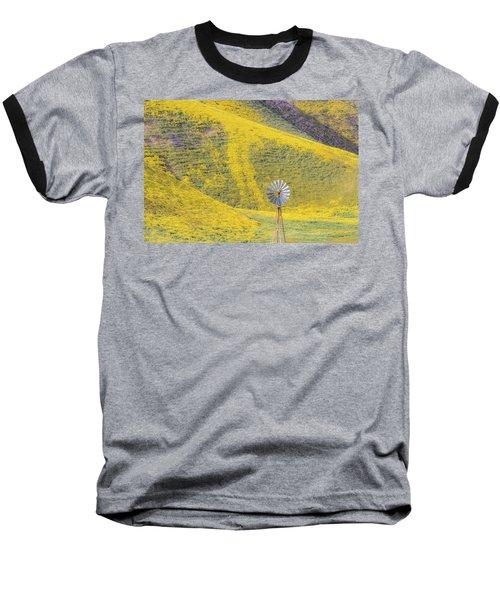 Goldfields And Windmill At Carrizo Plain  Baseball T-Shirt by Marc Crumpler