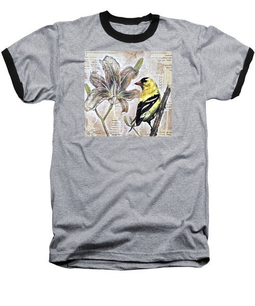 Goldfinch And Lily Baseball T-Shirt by Sheri Howe
