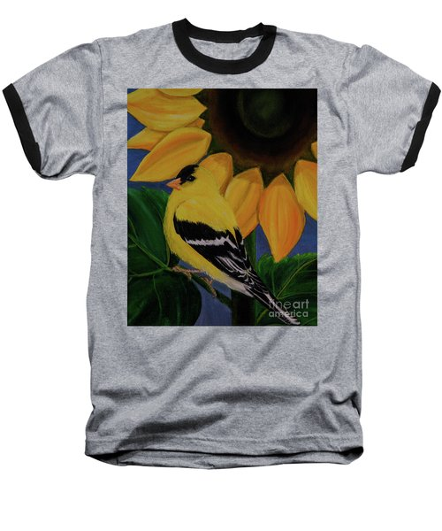 Goldfinch And Sunflower Baseball T-Shirt by Jane Axman