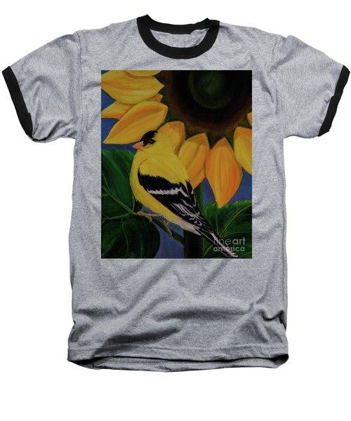 Goldfinch And Sunflower Baseball T-Shirt