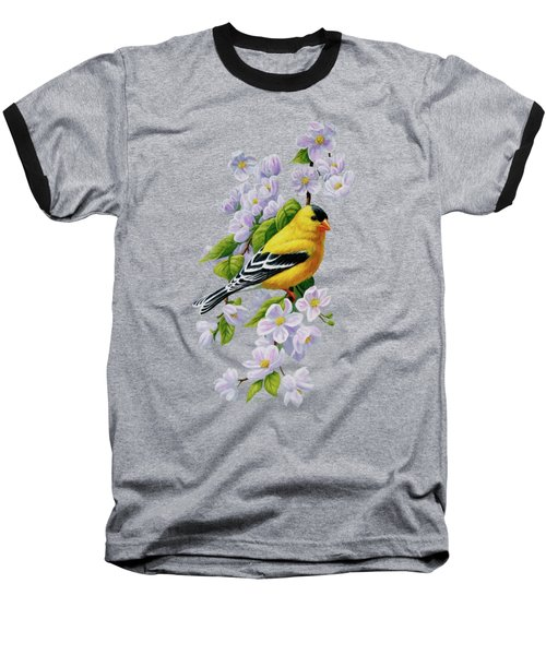 Goldfinch Blossoms Greeting Card 1 Baseball T-Shirt by Crista Forest