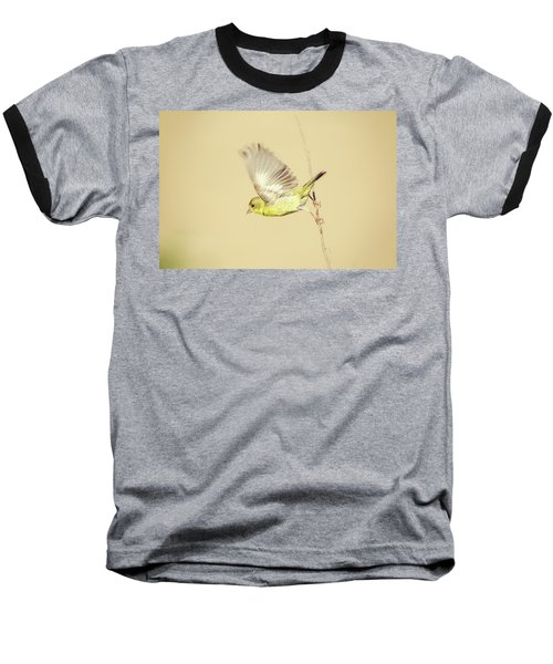 Goldfinch Flying Off  Baseball T-Shirt