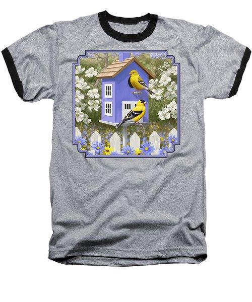 Goldfinch Garden Home Baseball T-Shirt by Crista Forest
