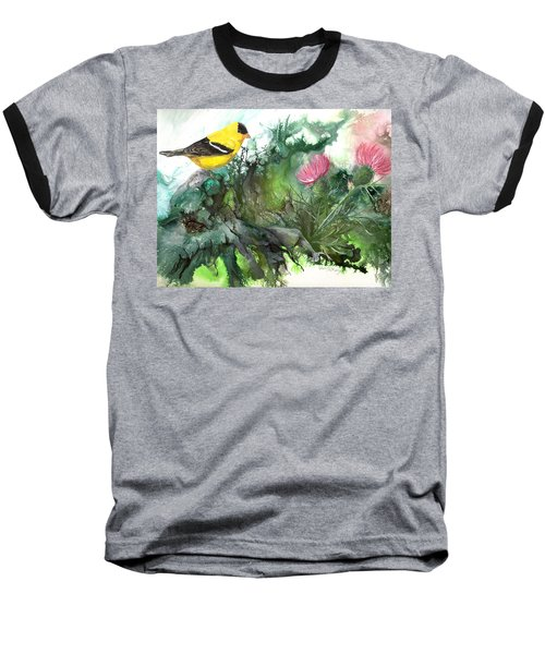 Baseball T-Shirt featuring the painting Goldfinch by Sherry Shipley