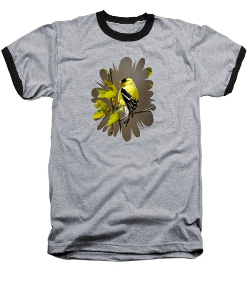 Baseball T-Shirt featuring the photograph Goldfinch Suspended In Song by Christina Rollo