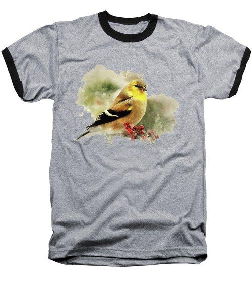 Goldfinch Watercolor Art Baseball T-Shirt