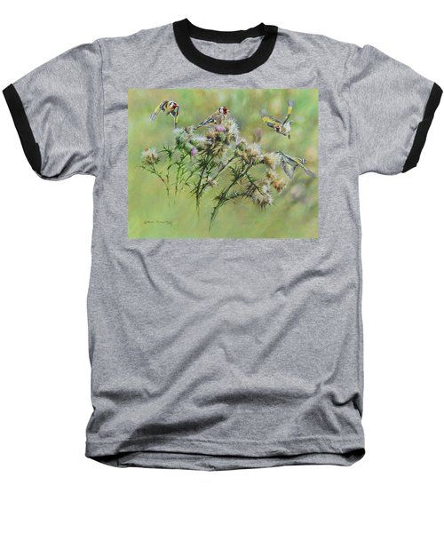 Goldfinches On Thistle Baseball T-Shirt