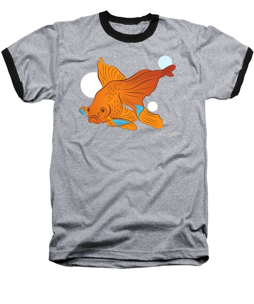 Goldfish And Bubbles Graphic Baseball T-Shirt