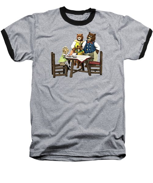 Baseball T-Shirt featuring the painting Goldilocks N The 3 Bears by Methune Hively