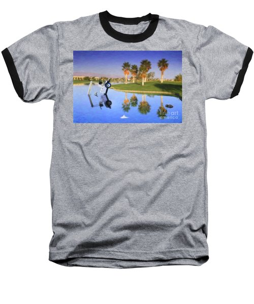 Baseball T-Shirt featuring the photograph Golf Cart Stuck In Water by David Zanzinger