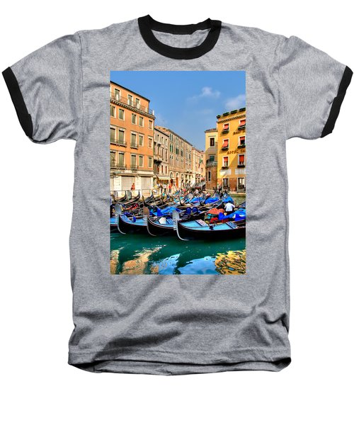 Gondolas In The Square Baseball T-Shirt by Peter Tellone