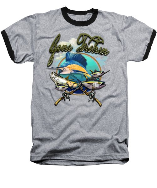 Gone Fishin Baseball T-Shirt