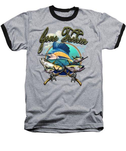 Gone Fishin Baseball T-Shirt