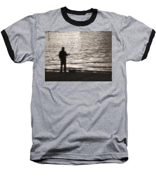 Gone Fishing Baseball T-Shirt by Mark Alan Perry