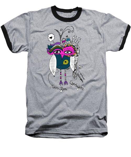 Goodnight Owl Baseball T-Shirt by Tara Griffin
