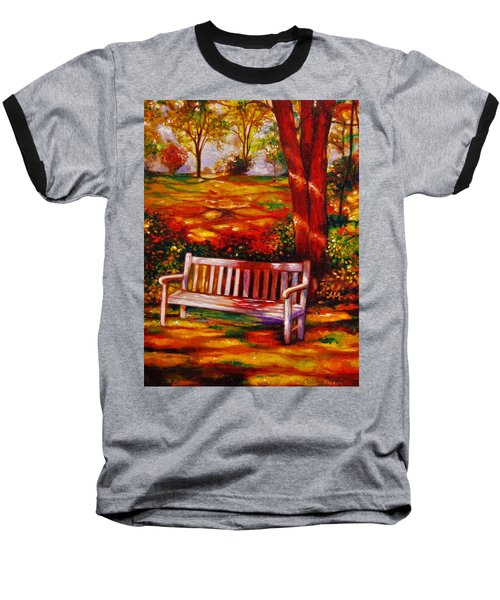 Baseball T-Shirt featuring the painting The Good Days by Emery Franklin