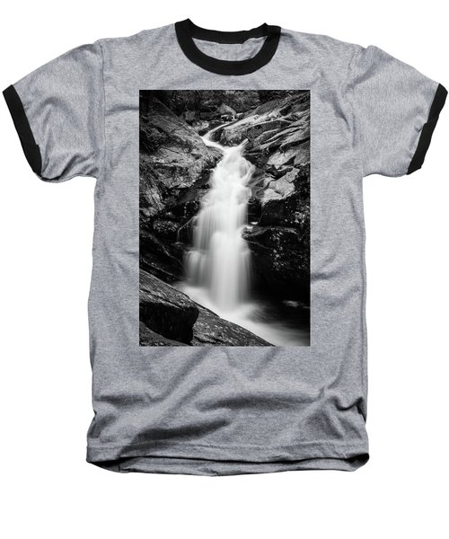 Gorge Waterfall In Black And White Baseball T-Shirt