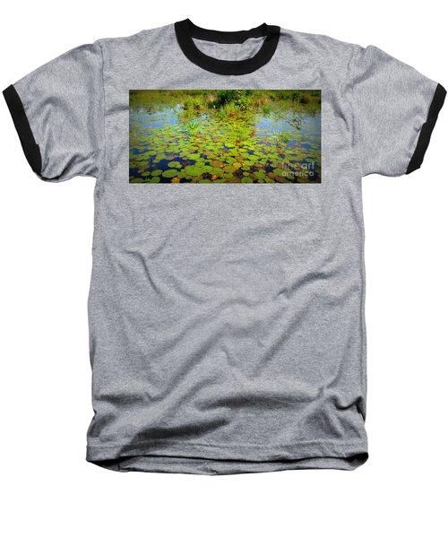 Gorham Pond Lily Pads Baseball T-Shirt by Susan Lafleur