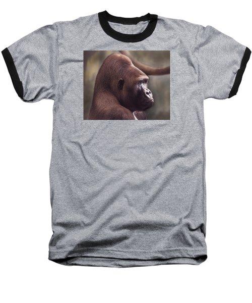 Gorilla Portrait Baseball T-Shirt by Greg Slocum