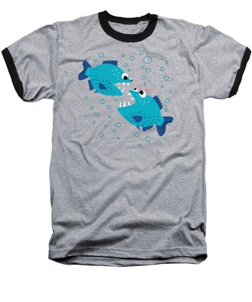 Gossiping Blue Piranha Fish Baseball T-Shirt