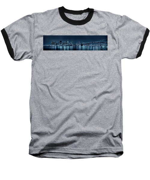 Gotham City Skyline Baseball T-Shirt by Sebastien Coursol