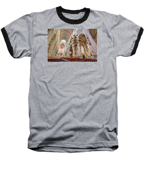 Gothic Cathedral  Baseball T-Shirt by Nadia Sanowar