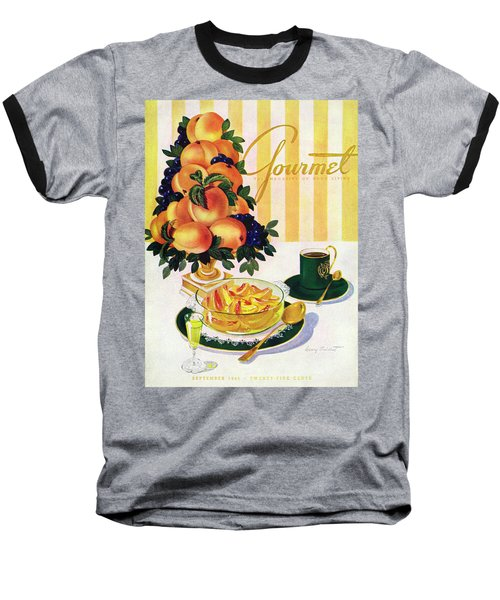 Gourmet Cover Featuring A Centerpiece Of Peaches Baseball T-Shirt