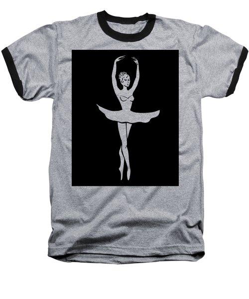 Graceful Dance Ballerina Silhouette Baseball T-Shirt by Irina Sztukowski