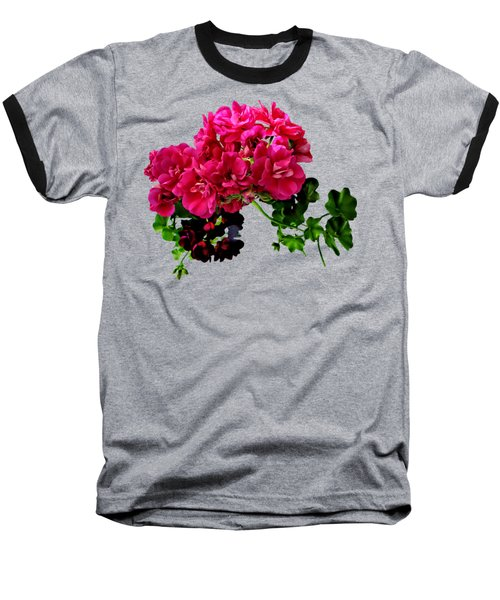Graceful Geraniums Baseball T-Shirt by Susan Savad