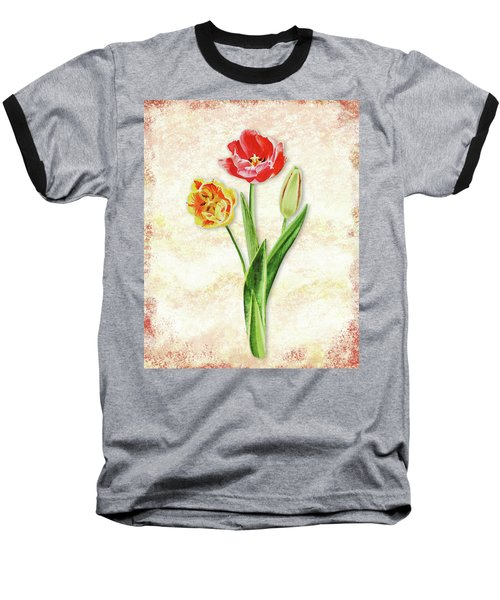 Baseball T-Shirt featuring the painting Graceful Watercolor Tulips by Irina Sztukowski