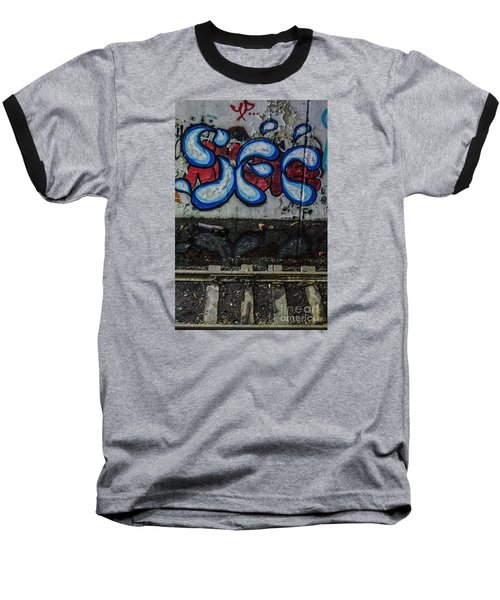 Graffitti And Train Tracks Baseball T-Shirt