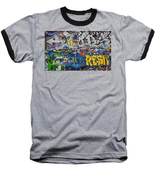 Grafitti On The U2 Wall, Windmill Lane Baseball T-Shirt