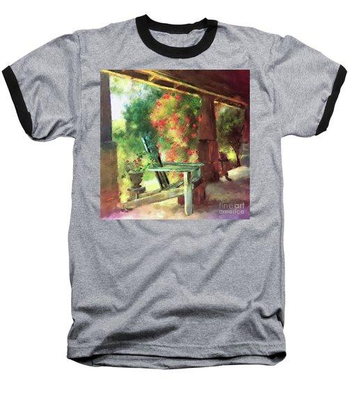Baseball T-Shirt featuring the digital art Gramma's Front Porch by Lois Bryan