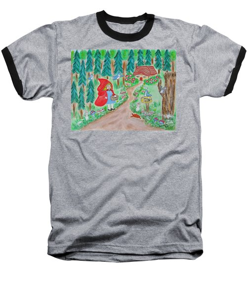 Little Red Riding Hoos With Grammy's House On The Mailbox Baseball T-Shirt