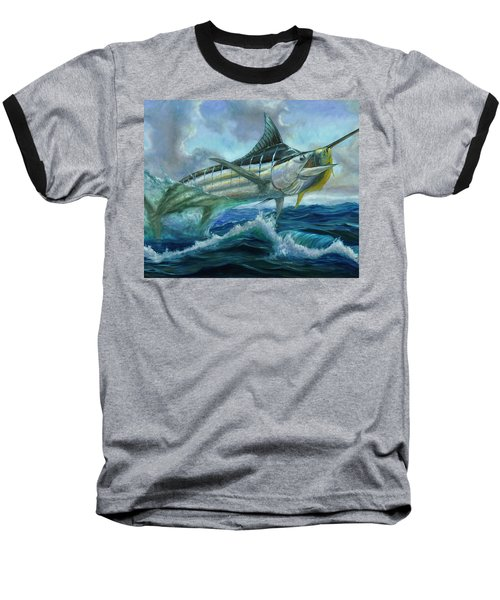 Grand Blue Marlin Jumping Eating Mahi Mahi Baseball T-Shirt