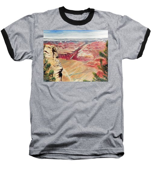 Baseball T-Shirt featuring the painting Grand Canyon Overlook by Sherril Porter