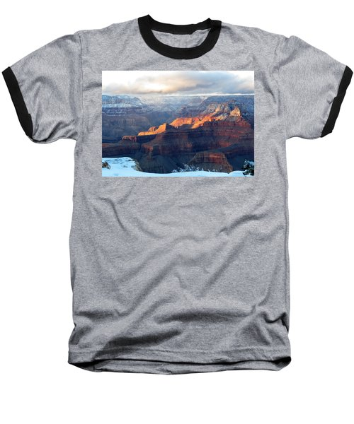 Grand Canyon With Snow Baseball T-Shirt by Laurel Powell