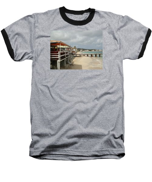 Grand Case Pier Baseball T-Shirt by Margaret Brooks