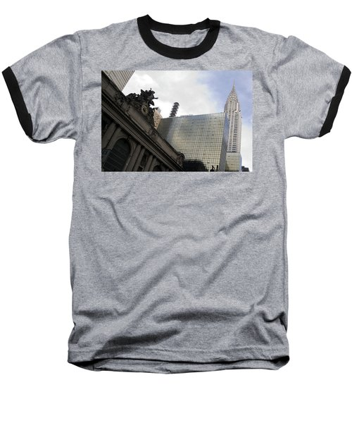 Grand Central And The Chrysler Building Baseball T-Shirt by Michael Dorn