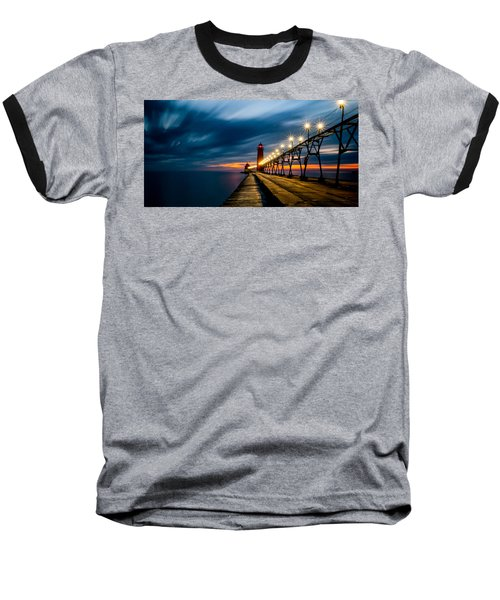 Grand Haven Lighthouse Baseball T-Shirt by Larry Carr