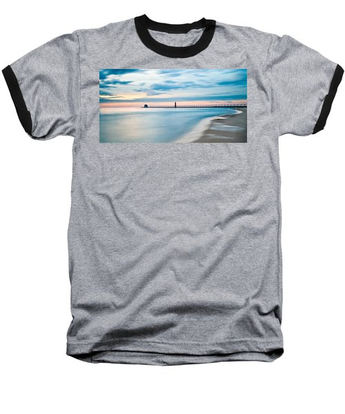 Grand Haven Pier - Smooth Waters Baseball T-Shirt by Larry Carr