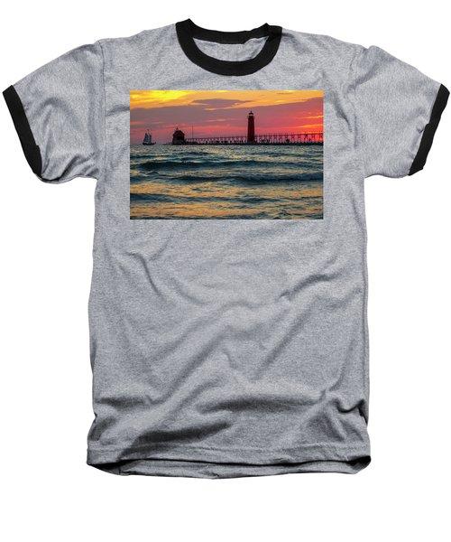 Grand Haven Pier Sail Baseball T-Shirt by Pat Cook