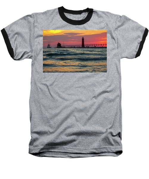 Grand Haven Pier Sail Baseball T-Shirt