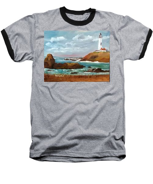 Grand Lighthouse Baseball T-Shirt by Larry Hamilton
