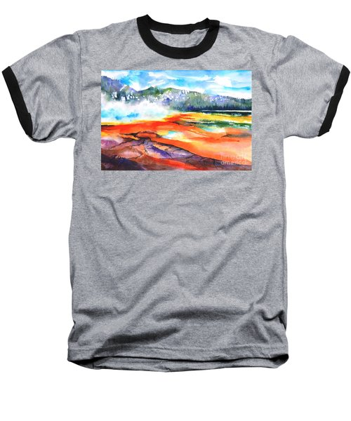 Grand Prismatic Hot Spring Baseball T-Shirt by Betty M M Wong