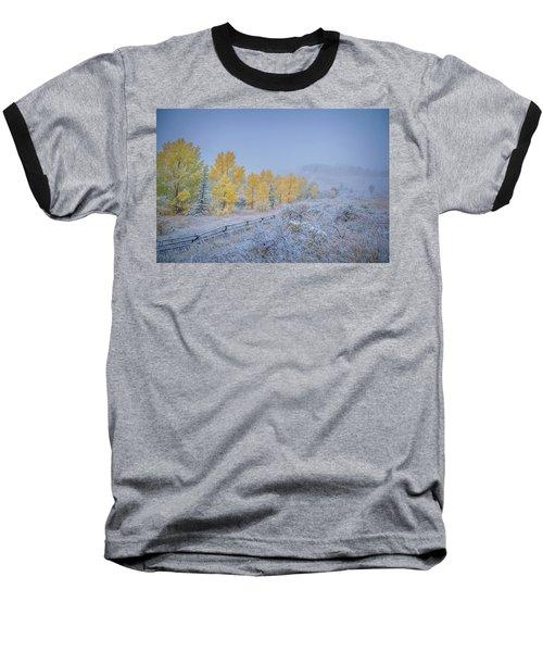Grand Teton Fall Snowfall Scene Baseball T-Shirt