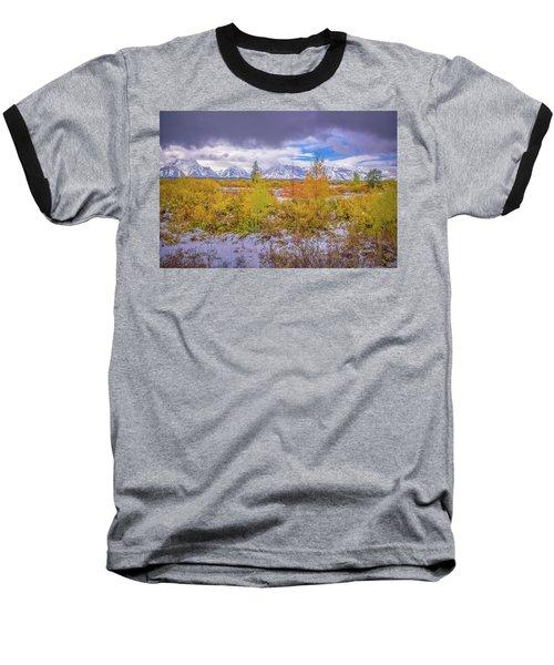 Grand Teton Fall Snowfall Baseball T-Shirt