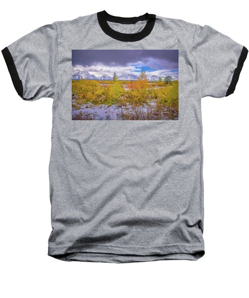 Grand Teton Fall Snowfall Baseball T-Shirt