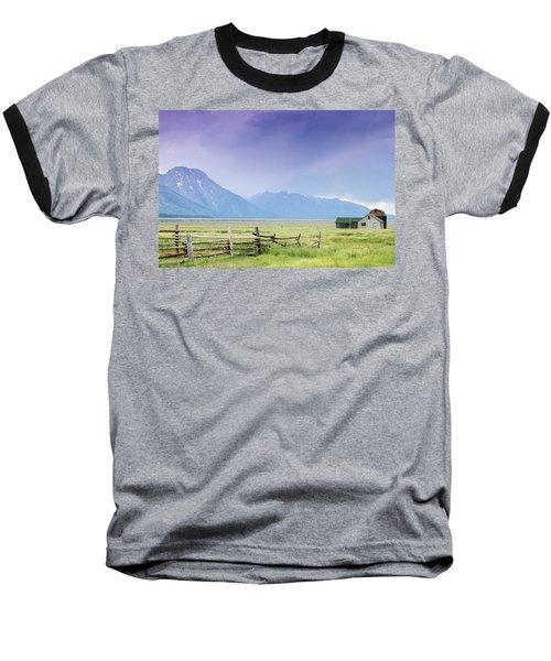 Grand Teton Homestead Baseball T-Shirt by Dawn Romine