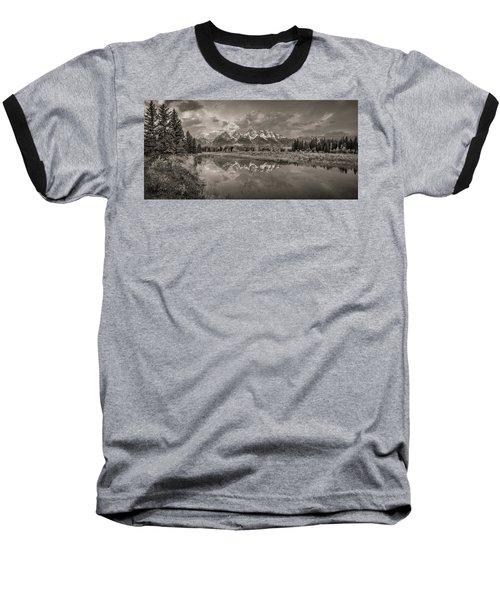 Grand Teton Monochromatic Panoramic Baseball T-Shirt